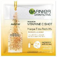 Masque Visage - Patch GARNIER Masque Tissu Fresh-Mix Hydrabomb - Vitamine C Shot - 33 g