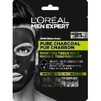 Masque Visage - Patch L'Oréal Paris MEN EXPERT PUR CHARBON Masque Tissu Purifiant Visage Homme 30.0 GRMac - L'oreal Paris