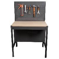 Materiel Chantier Etabli d'atelier métallique et bois MANUPRO - 2 portes - Panneau perforé - L.90 x P.60 x H.144 cm
