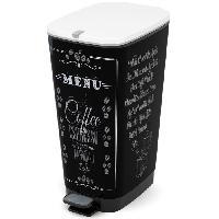 Materiel D'entretien KIS Poubelle de cuisine a pédale - Noir - Motif coffee - 42.5L