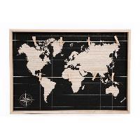 Memo - Ardoise Murale Plaque mappemonde a pince voyage - 55x35 cm Aucune