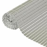 Menuiserie - Huisserie - Cloture NATURE Canisse double face PVC - 1500 g-m2 - Set de fixation - Gris - 1 x 3 m