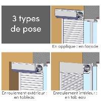 Menuiserie - Huisserie - Cloture Volet roulant PVC - H 120 x L 100 cm recoupable -Manoeuvre manuel sangle - Blanc - France Combi