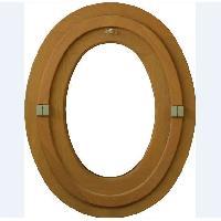 Menuiserie - Huisserie - Cloture oeil de boeuf ovale 1 vantail - H.65 x L.50 cm - Bois exotique
