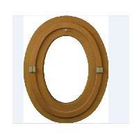 Menuiserie - Huisserie - Cloture oeil de boeuf ovale 1 vantail - H.90 x L.60 cm - Bois exotique