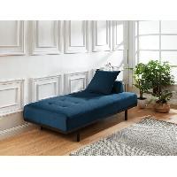 Meridienne LINDON Méridienne DAYBED 3 places - Tissu bleu canard - Style vintage - L190 x P 90 cm Aucune