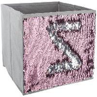 Meuble Bac de rangement Sequin - Argent et rose