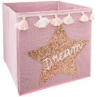 Meuble Bac de rangement Sequin et Pompons Dream - Rose