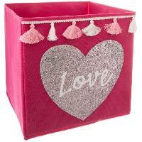 Meuble Bac de rangement Sequin et Pompons Love - Rose clair