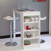 Meuble Bar - Comptoir De Bar CHILI Table bar de 2 a 4 personnes style contemporain blanc mat - L 115 cm - Generique