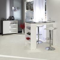 Meuble Bar - Comptoir De Bar CURRY Table bar de 2 a 4 personnes style contemporain blanc mat et effet béton - L 115 x l 50 cm - Generique