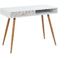 Meuble De Bureau BABETTE Bureau scandinave blanc et imprime vintage + pieds en metal aspect bois - L 105 cm