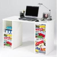Meuble De Bureau Bureau contemporain blanc mat et imprime top secret - L 120 cm