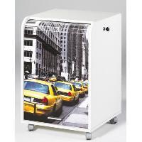 Meuble De Bureau Caisson de bureau 2 tiroirs Contemporain Blanc imprime Taxis Jaunes - L 47.2 cm
