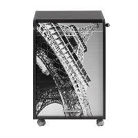 Meuble De Bureau Caisson de bureau 2 tiroirs Tour Eiffel Contemporain Noir - L 47.2 cm