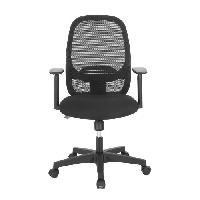 Meuble De Bureau Chaise de bureau - Tissu noir - L 65 x P 65 x H 96 cm - SMART
