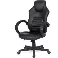 Meuble De Bureau Chaise de bureau gaming - Simili noir - L 58 x P 70 x H 98-116 cm - ARK
