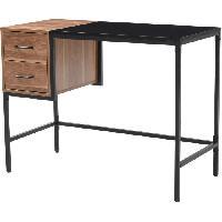 Meuble De Bureau HARVARD Bureau 2 tiroirs en métal noir - L 100 x P 48 x H 75 cm Aucune