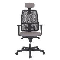 Meuble De Bureau IMAGINATION Chaise de bureau - Dossier maille résille gris - L 69 x P 70 x H 127 cm