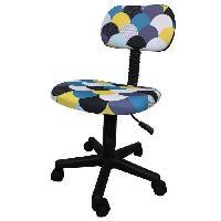 Meuble De Bureau LEMPA Chaise de bureau - Réglable en hauteur - Tissu multicolore bleu - L 46 x P 40 x H 71-83 cm