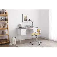 Meuble De Bureau MANHATTAN Bureau 2 tiroirs 1 porte en métal + 1 chaise simili - L 120 x P 55 x 76 cm Aucune
