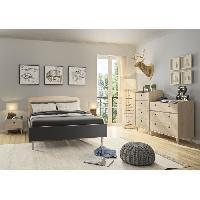 Meuble De Chambre ALEXIS Commode de chambre 3 tiroirs - Made in France - Décor chene et anthracite - L 40 x P 94 x H 86 cm Aucune