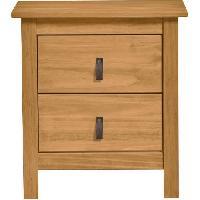 Meuble De Chambre ALOUETTE Chevet 2 tiroirs - Decor chene et poignees simili - L 46 x P 35 x H 49.5 cm - Aucune