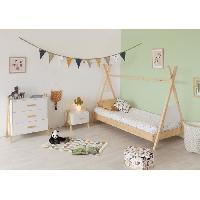Meuble De Chambre AMAROK Chambre complete enfant - lit + chevet + commode - Pin massif et MDF - Blanc/naturel - Style scandinave Aucune
