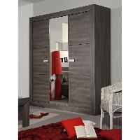 Meuble De Chambre AVIGNON Armoire 3 portes style contemporain coloris bois gris - L 200 cm