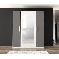 Meuble De Chambre Armoire de chambre PEHMEA 181 cm - Blanc et gris