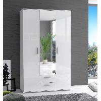 Meuble De Chambre Armoire de chambre SELKEA 121 cm - Blanc brillant