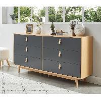 Meuble De Chambre CAMBRIDGE Commode 6 tiroirs avec poignees en cuir gris anthracite et bois - L 158.5 x P 40 x H 80 cm - Aucune