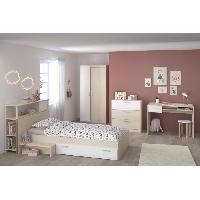 Meuble De Chambre CHARLEMAGNE Chambre enfant complete - Tete de lit + lit + commode + armoire + bureau - contemporain - Decor acacia clair et blanc - Aucune
