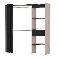 Meuble De Chambre CHICAGO Kit placard extensible - Decor chene et noir - L 168.2 x P 50 x H 187 cm - Aucune