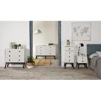 Meuble De Chambre CLEMENCE Commode 3 tiroirs - Decor blanc et pieds noir - L 80 x P 40 x H 82 cm - Aucune