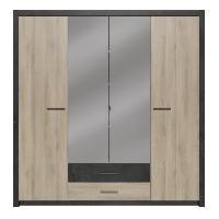 Meuble De Chambre COLORADO Armoire 4 portes - Décor Chene Kronberg - L 198 x H 203.1 x 56.6 cm - Aucune