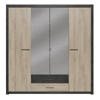 Meuble De Chambre COLORADO Armoire 4 portes - Décor Chene Kronberg - L 198 x H 203.1 x 56.6 cm Aucune