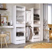 Meuble De Chambre COMBIT Kit Dressing 2 colonne 2 penderies et 6 tiroirs - Blanc - L 117 x P 48 x H 200 cm Aucune