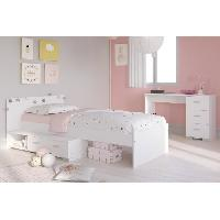 Meuble De Chambre COSMOS Chambre enfant complete 2 pieces - Lit + bureau - Style essentiel - Décor blanc Aucune