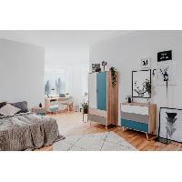 Meuble De Chambre CUBA Chevet 2 tiroirs - Style scandinave - Decor chene Sonoma - L 40 x P 30 x H 52 cm
