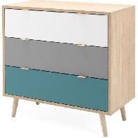 Meuble De Chambre CUBA Commode 3 tiroirs - Style scandinave - Décor chene Sonoma - L 80 x P 40 x H 80 cm Aucune