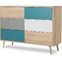 Meuble De Chambre CUBA Commode 6 tiroirs - Style scandinave - Décor chene Sonoma - L 120 x P 40 x H 87 cm Aucune