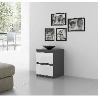 Meuble De Chambre Chevet NATTI 42cm gris et blanc