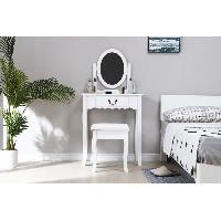Meuble De Chambre Coiffeuse avec Miroir + Tabouret - Decor Blanc et pied en bois - L 66 x P 36.5 x H 127 - Aucune