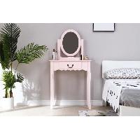 Meuble De Chambre Coiffeuse avec Miroir + Tabouret - Decor rose et pied en bois - L 66 x P 36.5 x H 127 - Aucune