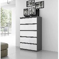 Meuble De Chambre Commode NATTI 78cm gris et blanc