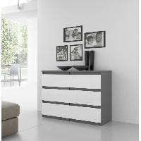 Meuble De Chambre Commode NATTi 6 tiroirs 110x80cm gris bl