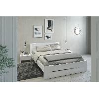 Meuble De Chambre EDEN Ensemble chambre lit 140x190 cm + 2 chevets blanc brillant - L 146 x P 75 x H 195 cm Aucune