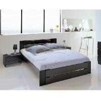 Meuble De Chambre EDEN Ensemble chambre lit 140x190 cm + 2 chevets noir brillant - L 146 x P 75 x H 195 cm Aucune