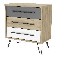 Meuble De Chambre FILEA Commode 3 tiroirs - Decor chene kronberg blanc et gris - L 74.9 x P 39.7 x H 81.5 cm - Aucune